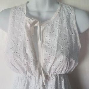 Elif Swim - White Cotton Eyelet Swim Cover Nightgown S